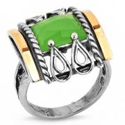 Серебряное кольцо Yaffo с золотом и кварцем