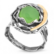 Серебряное кольцо Yaffo с золотом и мятным кварцем