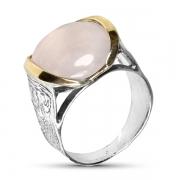 Серебряное кольцо Yaffo с золотом и розовым кварцем