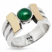 Серебряное кольцо Yaffo с золотом и зеленым агатом