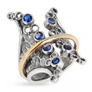 Серебряное кольцо Yaffo с золотом и фианитами