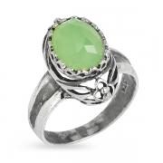 Серебряное кольцо Yaffo с зеленым кварцем