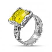 Серебряное кольцо Yaffo с лимонным кварцем