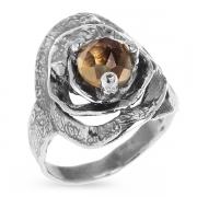 Серебряное кольцо Yaffo с дымчатым кварцем