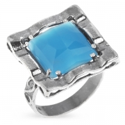 Серебряное кольцо Yaffo с голубым кварцем