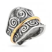 Серебряное кольцо Yaffo с золотом