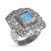 Серебряное кольцо Yaffo с опалом синтетическим