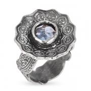 Серебряное кольцо Yaffo с голубым фианитом