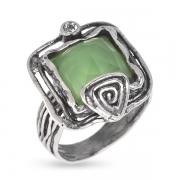 Серебряное кольцо Yaffo с мятным кварцем и фианитом