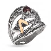 Серебряное кольцо Yaffo с золотом и гранатом