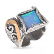 Серебряное кольцо Yaffo с опалом синтетическим и золотом