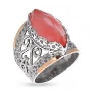 Серебряное кольцо Yaffo с кварцем и золотом