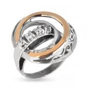 Серебряное кольцо Yaffo с фианитами и золотом