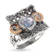 Серебряное кольцо Yaffo с голубым фианитом и золотом