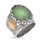 Серебряное кольцо Yaffo с авантюрином и золотом