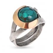 Серебряное кольцо Yaffo с с бирюзой и золотом