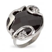 Серебряное кольцо Yaffo с гематитом  и фианитами