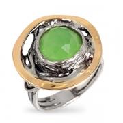 Серебряное кольцо Yaffo с мятным кварцем и золотом