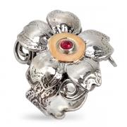 Серебряное кольцо Yaffo с гранатом