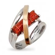 Серебряное кольцо Yaffo с кораллом и золотом