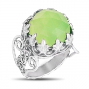 Серебряное кольцо Yaffo с мятным кварцем