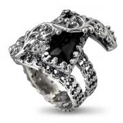Серебряное кольцо Yaffo с ониксом