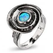 Серебряное кольцо Yaffo с синт. опалом