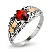 Серебряное кольцо Yaffo с фианитом и золотом