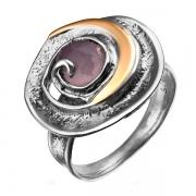 Серебряное кольцо Yaffo с розовым кварцем и золотом