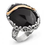 Серебряное кольцо Yaffo с черным ониксом и золотом