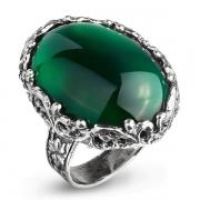 Серебряное кольцо Yaffo с зеленым агатом