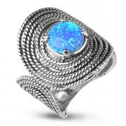 Серебряное кольцо Yaffo с синт. опалами