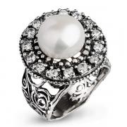 Серебряное кольцо Yaffo с жемчугом и фианитами