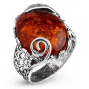Серебряное кольцо Yaffo с янтарем