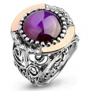 Серебряное кольцо Yaffo с фианитом цвета Аметист и золотом