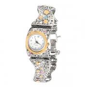 Серебряные часы Yaffo с золотом и фианитами