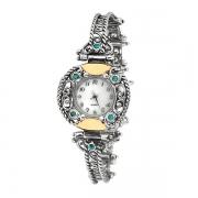 Серебряные часы Yaffo с бирюзой и золотом