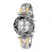 Серебряные часы Yaffo с аметистом и золотом