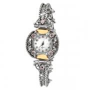 Серебряные часы Yaffo с розовым кварцем и золотом
