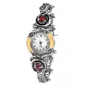 Серебряные часы Yaffo с гранатом и золотом