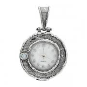 Серебряные часы-кулон  Yaffo с синт. опалом
