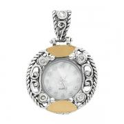 Серебряные часы-кулон  Yaffo с золотом и фианитом