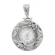 Серебряные часы-кулон  Yaffo с аметистом