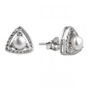 Серебряные  серьги  De Luna с иск.жемчугом и фианитами