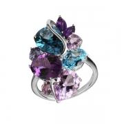 Серебряное кольцо Sandara с аметистом, топазом и иолитом