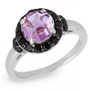 Серебряное кольцо Sandara с аметистом и черной шпинелью