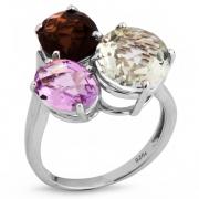 Серебряное кольцо Sandara с аметистом, дымчатым кварцем и зеленым кварцем