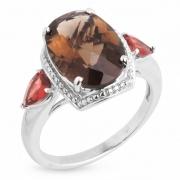 Серебряное кольцо Sandara с дымчатым кварцем и гранатами
