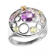 Серебряное кольцо Sandara с аметистом, перидотом, цитрином и топазом