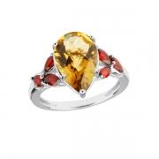 Серебряное кольцо Sandara с кварцем и гранатами